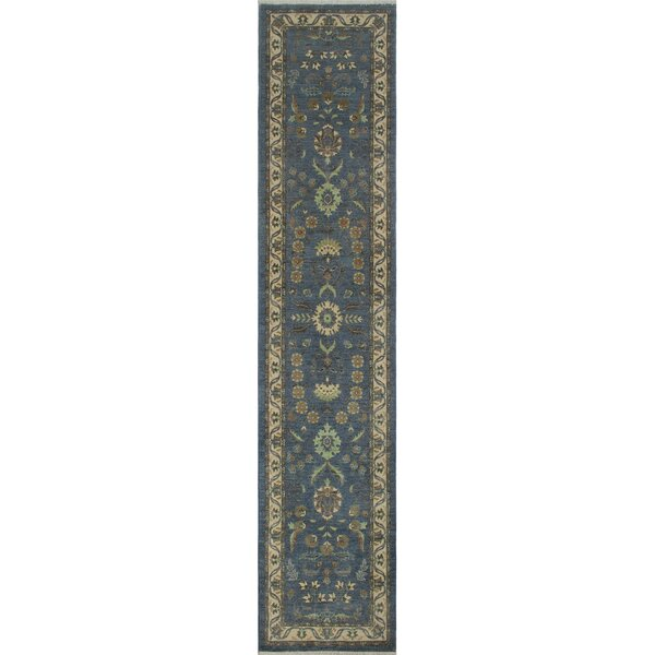 Longoria Chobi Knotted 100% Wool Gray Area Rug by Canora Grey